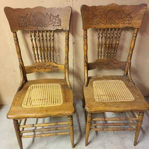 Lot # 212 - Matching Antique Wood and Cane Chairs * Furniture