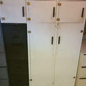 Lot # 215 - Cool Wood Storage Cabinet built around a metal 4 drawer vintage file cabinet
