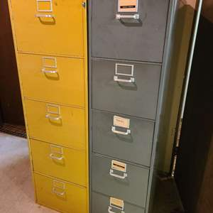 Lot # 217 - 2 Vintage GF Super Filer Metal Filing Cabinets * Check out How the Drawers Open!