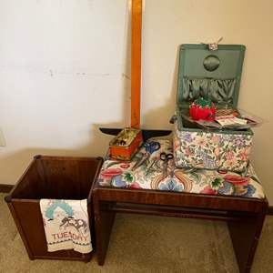 Lot # 221 - Sewing lot including Cute Bench * Vintage Metroloy Scissors * Wiss-Clip * Pin Cushion