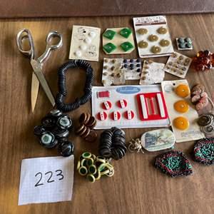 Lot # 223 - Wonderful Vintage Buttons!! * Sewing Scissors