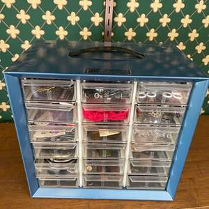 Lot # 230 - Sewing Goodies in Metal Cabinet with Plastic Drawers