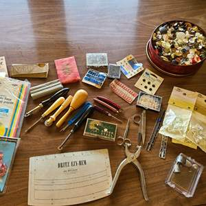 Lot # 231 - Sewing lot including Buttons * Scissors * Pins * and more!