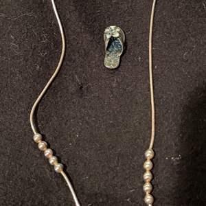 Lot # 243 - Sterling Flip Flop Pendant * Sterling Necklace with little balls