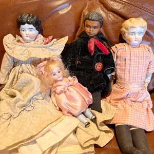 Lot # 249 - 2 Old Glazed Porcelain Heads & Arms Antique Dolls with cloth bodies plus 2 Others