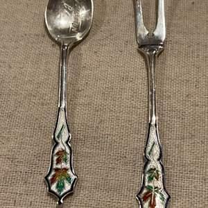 Lot #252 - Sterling Silver with Enamel miniature Spoon & Fork Penticton B.C