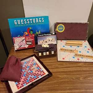 Lot #266 - Games * Vintage Scrabble 1949 * Gestures * Dominoes * Travel Rummy