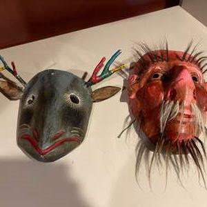 Lot #270 - Set of 2 Wooden Hand Carved Masks