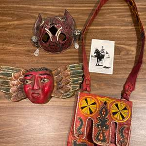 Lot #274 - 2 Masks and Leather Purse/Bag