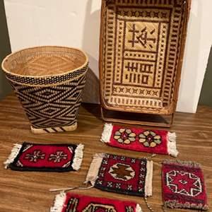 Lot #278 - Woven Baskets * Mini Rugs