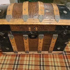 Lot #283 - Wonderful Antique Domed Trunk