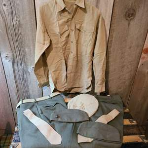Lot #287 - Military Clothing * 2 Pants * 2 Ties * 3 Hats * 1 Pin * 1 Belt