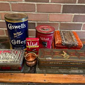 Lot #297 - Fun Eclectic Vintage Metal Container Lot