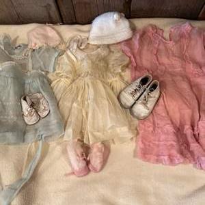 Lot #312 - Little Girls Vintage Clothing Dresses Shoes