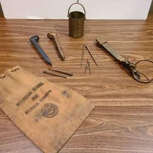 Lot #314 - Bellingham Bank Bag * Railroad Ties * Vintage Tools & Nails