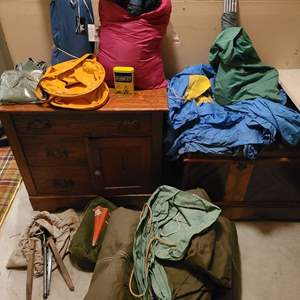 Lot #320 - Camping Equipment * Sleeping Bag * Large Canvas Tent * Storm Kit