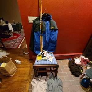 Lot #323- Fishing lot * Eagle Claw * Stearns Dry Wear * Starfire Rod * Exofficio Shirts * Lensatic Compass * Western Knife