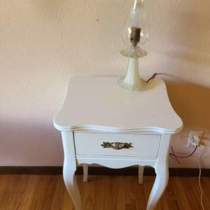 Lot # 348 -  French Provincial Nightstand * Antique Lamp * Furniture