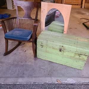 Lot # 350 - Antique Rocking Chair * Trunk * Mirror
