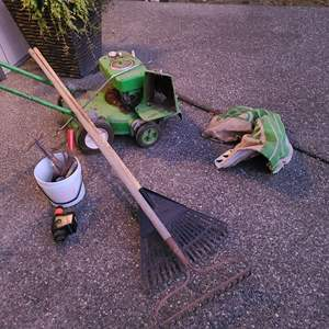 Lot # 352 - Lawn Boy Mower * Rakes * Hand tools * Hatchet