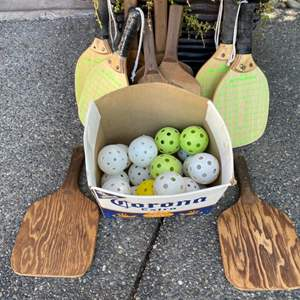 Lot # 359 - Pickle-ball Paddles and Wiffle balls