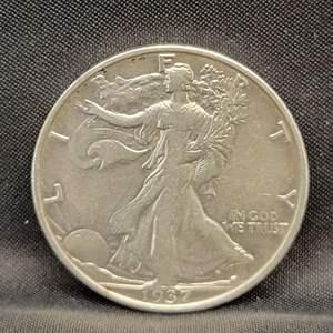Lot 13 - 1937 D SILVER Walking Liberty Half Dollar
