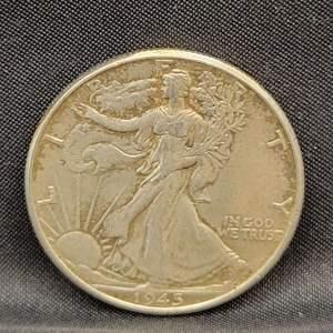 Lot 15 - 1945 SILVER Walking Liberty Half Dollar