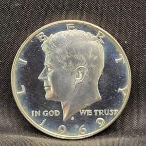 Lot 18 - 1969-S PROOF SILVER Kennedy Half Dollar