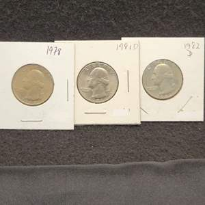 Lot 23 - Three UNC Washington Quarter Dollars, 1978, 1982-D, 1981-D