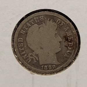 "Lot 24 - 1898 SILVER Liberty Head ""Barber"" Dime"