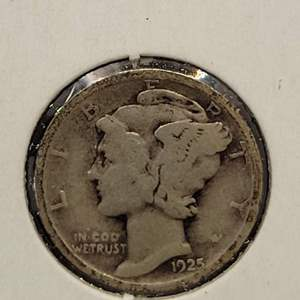 """Lot 26 - 1925-S SILVER Winged Liberty """"Mercury"""" Dime"""