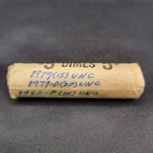 Lot 30 - 1979, 1979-D, 1980-P Roll Roosevelt Dimes, Sealed and notated by Collector decades ago, unsearched.