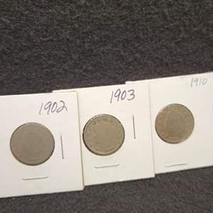 "Lot 32 - Three Liberty Head ""V"" Nickels, 1902, 1903, 1910"