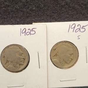 Lot 36 - Two Buffalo Nickels, 1925, 1925-S