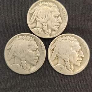 Lot 38 - Three 1920's Buffalo Nickels