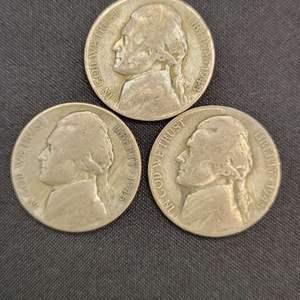 Lot 39 - Three SILVER WWII Era War Nickels