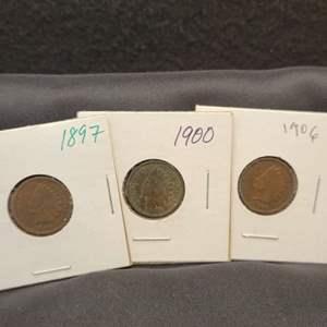 Lot 45 - Three Indian Head Cents, 1897, 1900,1906