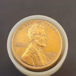 Lot 51 - 1951-S Roll Wheat Cents