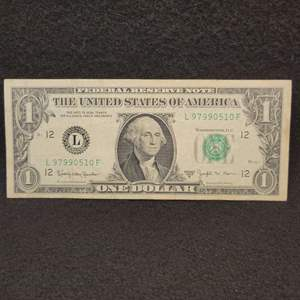Lot 63 - 1963 B Joseph W Barr* Treasury Secretary Signature, One Dollar Federal Reserve Note *shortest tenure treasury secretary