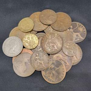 Lot 69 - Antique and Vintage British Coin Collection including an 1800's coin plus mostly early 1900's.