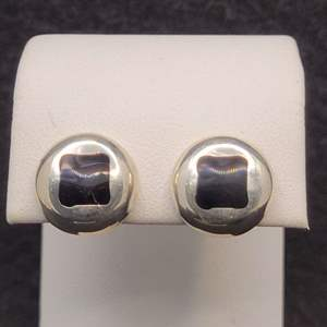 Lot 85 - Vintage Sterling Silver Stud Earrings with Black Stone Inlay, Stamped 925