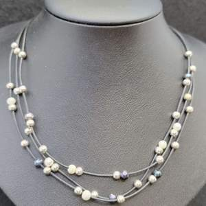 """Lot 89 - Vintage Sterling Silver Bead and Fresh Water Pearl Necklace, 16"""""""
