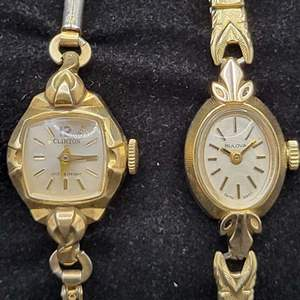 Lot 98 - Two 10Kt Rolled Gold Filled VINTAGE Ladies Mechanical Watches, BULOVA and CLINTON,both stamped 10K R.G.F. BEZEL