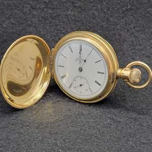 Lot 99 - Vintage ELGIN Engraved Case Mechanical Watch, locket back with bleeding heart and cross artwork