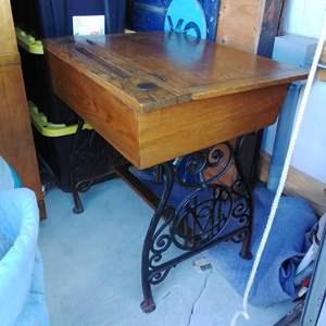 Lot #EL3 - 1900s or Earlier, Oak and Cast Iron School Desk w Ink Wells