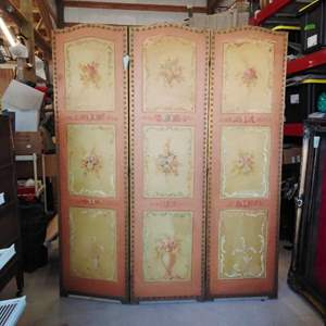 Lot #EL6 - Antique Hand-Painted Screen Room Divider from Italy