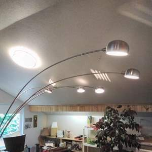 Lot #MW23 - Vintage Modern 5 Arm Over Sofa Arc Lamp Works Great 3-Way Lighting BUY IT NOW OPTION!