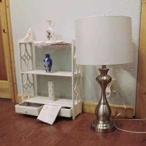 Lot #HW28 - Table Lamp and Two Drawer Shelf Decor Lot