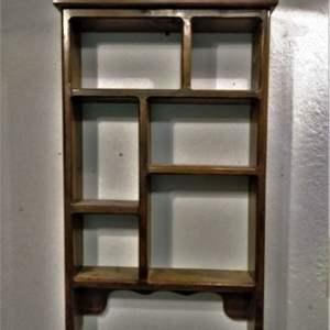 Lot #HW29 - Brown Wood Vintage Wall Display Shelf Cubby