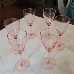 """Lot #LH31 -Five Beautiful Depression Pink Aperitif Glasses 5"""" Tall"""